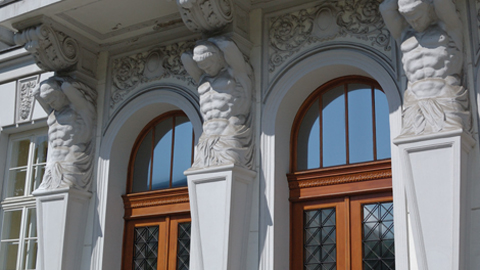 Photo of an entrance to a building in downtown Belgrade.